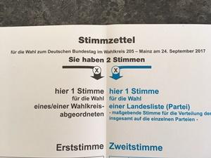 Erst- und Zweitstimme auf Stimmzettel